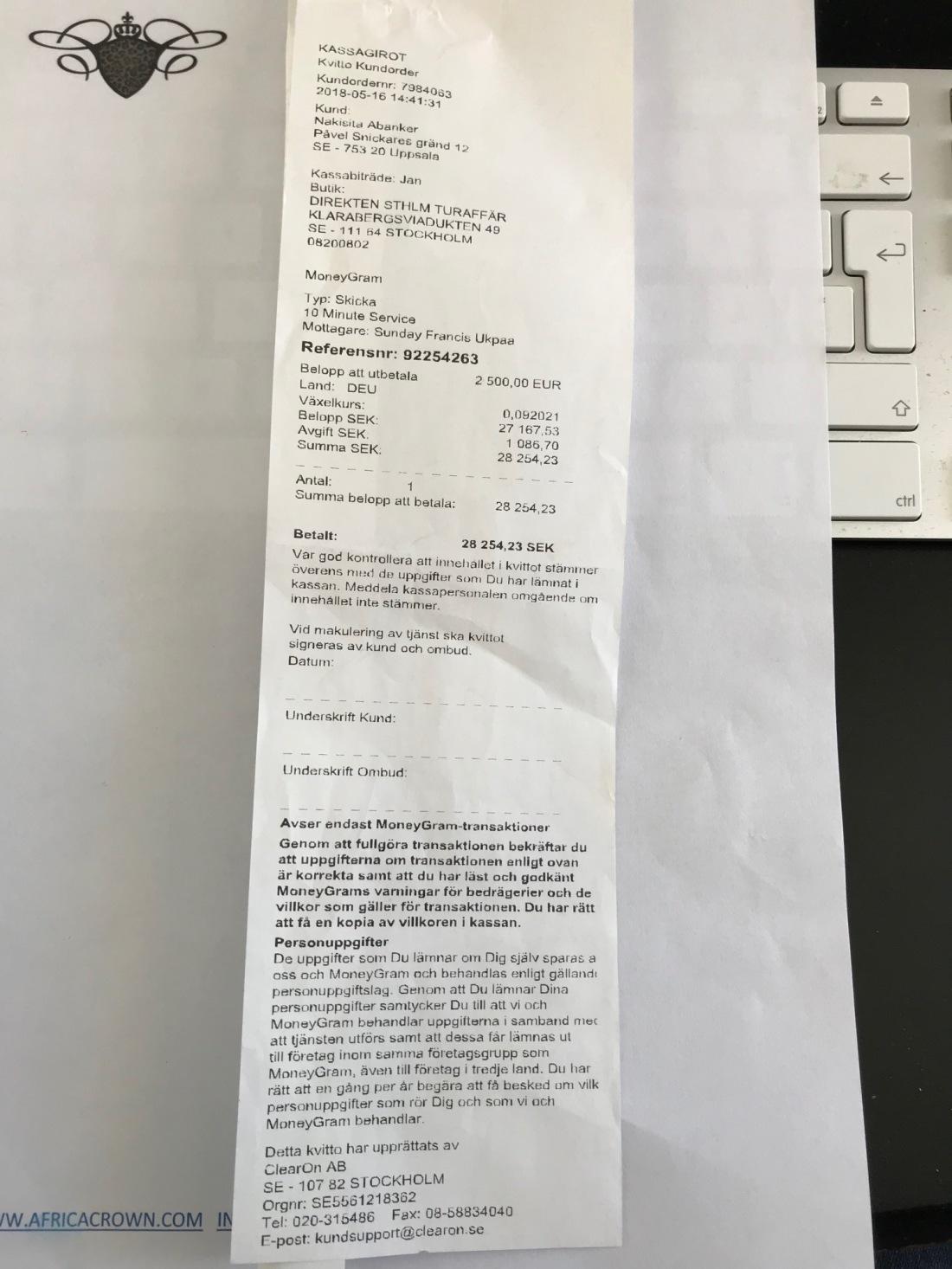 Bet Moneygram 2,500 Euro